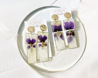 Pressed flower earrings- pansy dry flower earrings - lightweight earrings -drop square geometric studs -for her- handcrafted