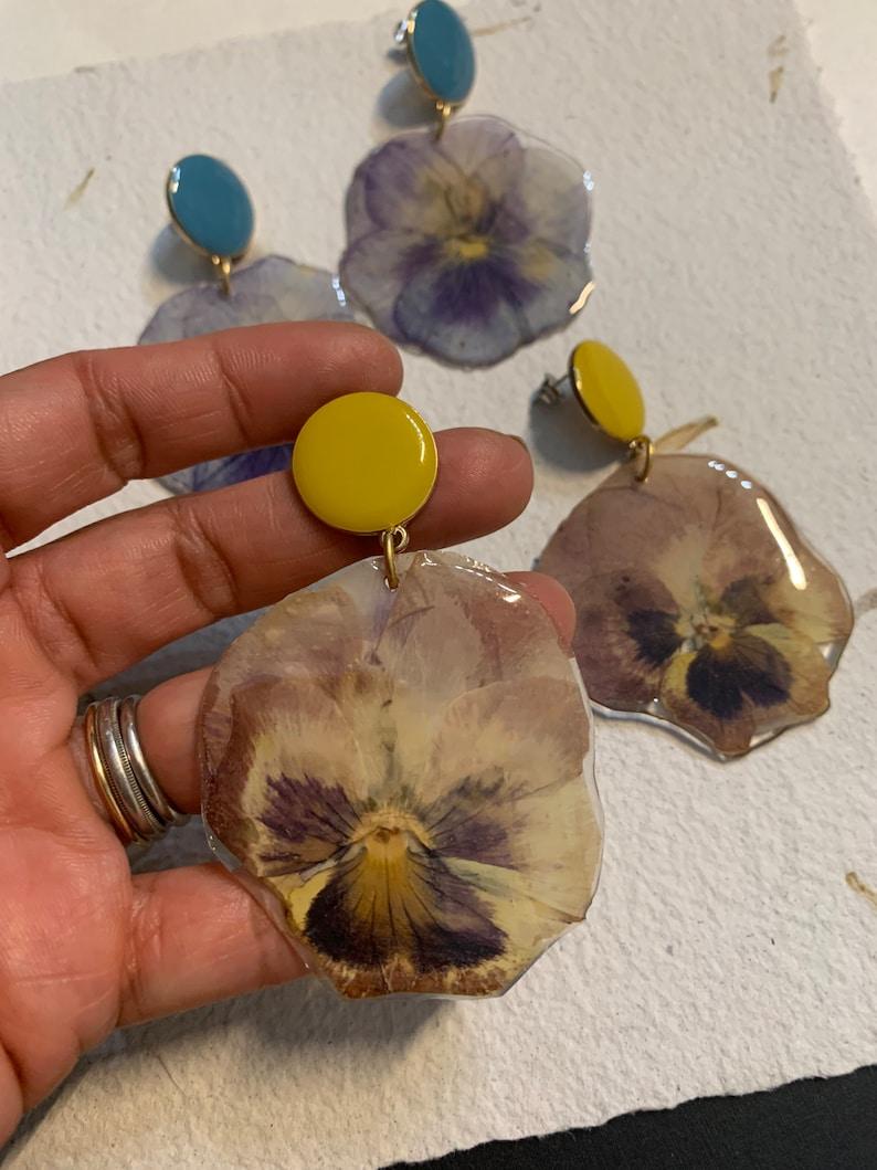 pressed flower earrings genuine pansy dry pansy flower-stud earrings-yellow brown or pale blue large pansy flower earrings-special gift