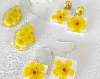 real flower earrings-yellow buttercup flower earrings-stud earrings- silver post-contemporary jewelry - dry flower jewelry-gift for her