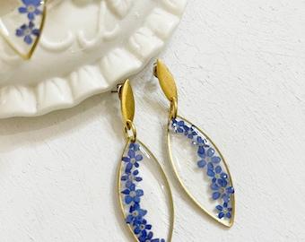 Pressed flower earrings- dry flower earrings - lightweight earrings -drop marque shape w/ forget me not purple for her- handcrafted