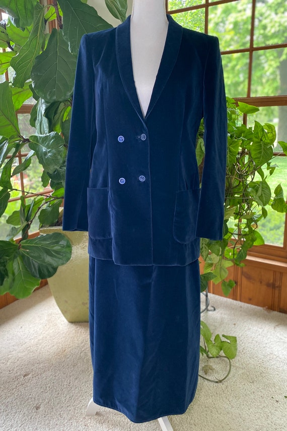 Vintage Velvet Suit, Blue Velvet Medi Skirt, Blue