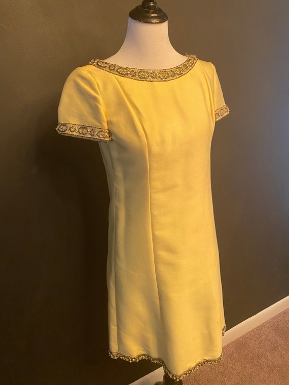 60s Yellow Malcom Starr Dress, Mod Embellished Dre
