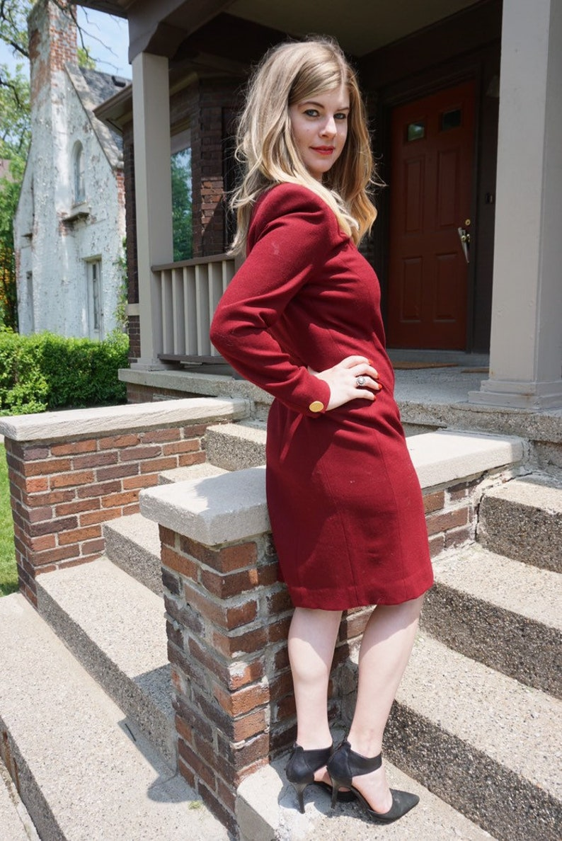80s Red Wool Jones New York Power Dress with Gold Buttons Big Shoulder Pads 80s Business Dress Red Work Dress Gold Button Detail