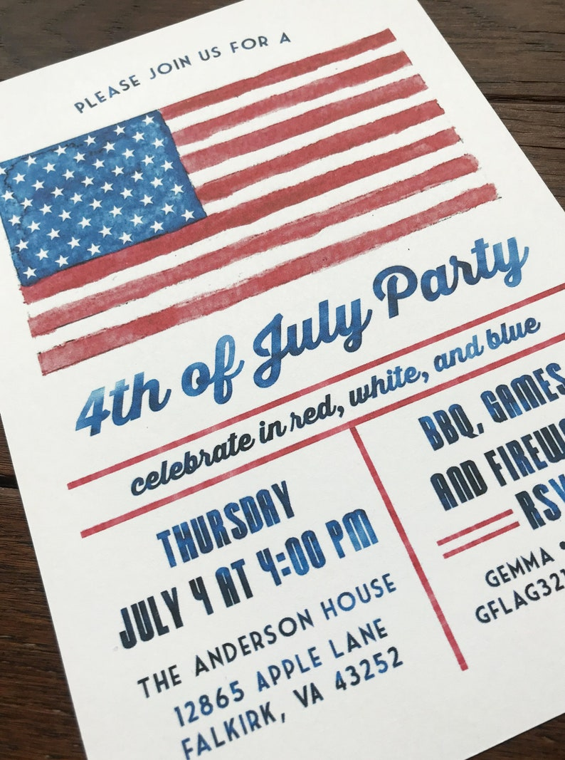 Rustic July 4th Party Invitation