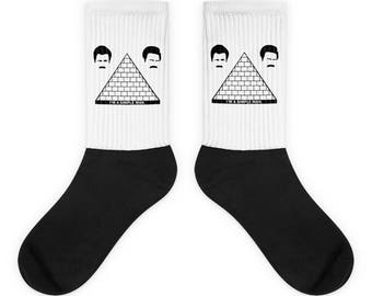 Parks and Recreation Socks - Ron Swanson  - Parks and Rec - Pyramid of Greatness - Mustache - Quote - America - Funny