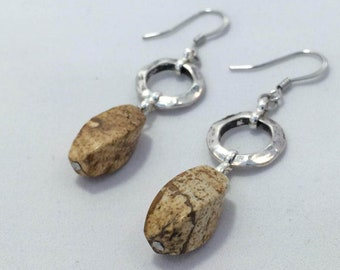 scenery jasper stainless steel and silver plated black patina components earrings