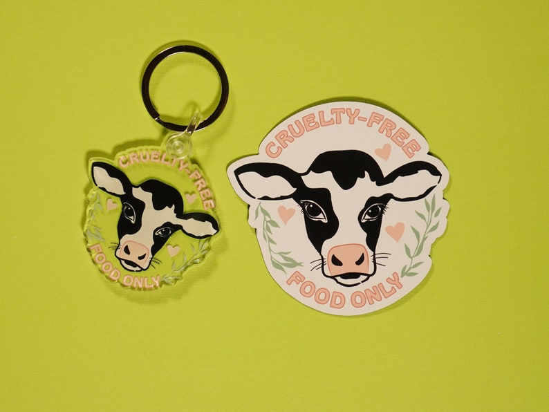 Acrylic /& Stainless Steel Keychain Vegan Cruelty-Free Cow