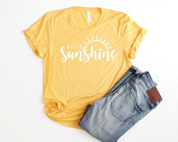 4d524a5cf1a3 Sun Shirt Hello Sunshine Shirt Unisex Yellow Shirt Women Hello