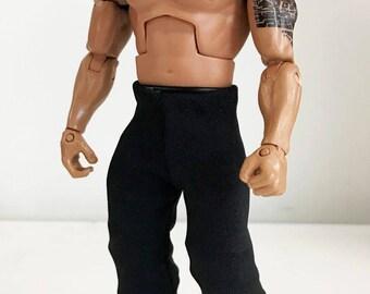 b8e84a78b304f NOX-PT2  FIGLot 1 12 scale Fabric Black Pants for Mattel Wrestling or  Marvel Select Wolverine Figure