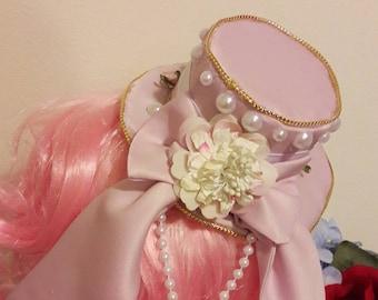 Mini Pink Lolita Hat Pearls Flowers