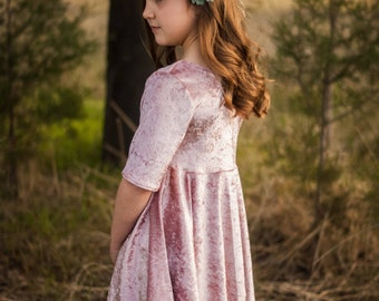 flower girl dress, pink dress, twirl dress, girls dress, dress with sleeves, tween dress, blush dress, formal dress, velvet dress