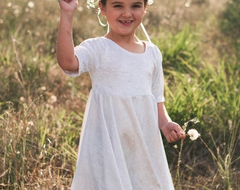 LDS baptism dress, velvet dress, twirl dress, communion dress, flower girl dress, white dress, girls modest dress, dress with sleeves