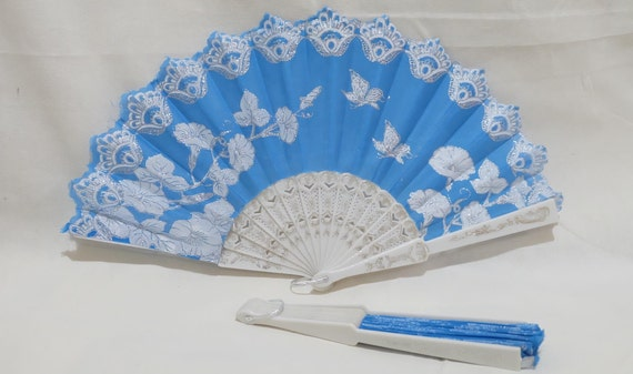 Vintage Folding Fan Natural Bamboo Wooden Lace Silk Hand Held Fan Wedding Party