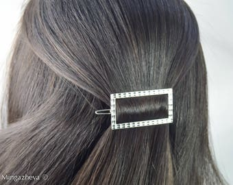 Rectangle  square  hair pin bobby pin silver gold Valentine's Day gift idea