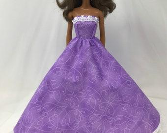 "Lavender Princess Doll Dress-11.5"" Doll Clothes-Birthday Party Dress-Lavender Doll Dress-Princess Dress-Purple Doll Dress"