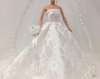 "Doll Wedding Dress-11.5"" Doll Clothes-Doll Bridal Gown-White Wedding Gown-Brocade Wedding Dress-Flower Bouquet-Floor Length Veil-Bride Gift"