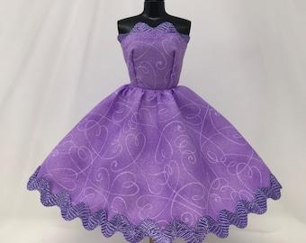 "Lavender Doll Dress-11.5"" Doll Clothes-Birthday Party Dress-Lavender Rickrack Doll Dress-Purple Princess Dress-Purple Doll Dress-Girls Toys"