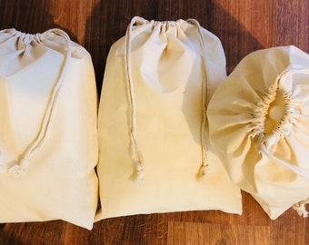 7919719f45 12 x 16 Inches Cotton Muslin Bags - Poly Cotton Double Drawstring Premium  Quality Eco Friendly Reusable Natural Storage Muslin Bags