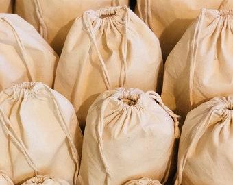 173d3c83e3 100 Pcs of 12 x 16 Inches Reusable Eco-Friendly Cotton Muslin Bags. Poly  Cotton Double Drawstring Premium Quality Cotton Storage Bag.