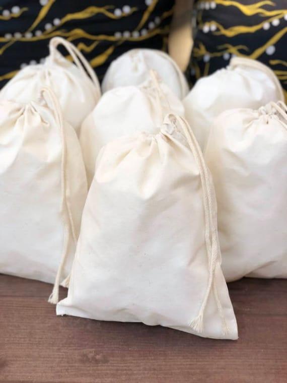 "SET OF 50 Natural color 3/""x5/"" Cotton Single Drawstring Muslin Bags"