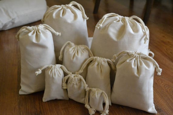 """Wholesale Prices 10/""""x16/"""" Cotton Double Drawstring Reusable Natural Muslin Bags"""