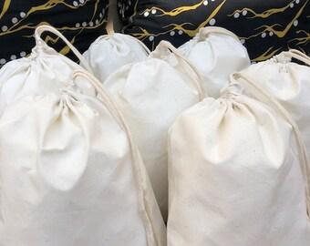 "12""x16"" Cotton Muslin Bags - 100% Organic Cotton Single Drawstring Premium Quality Eco Friendly Reusable Natural Muslin Bags"