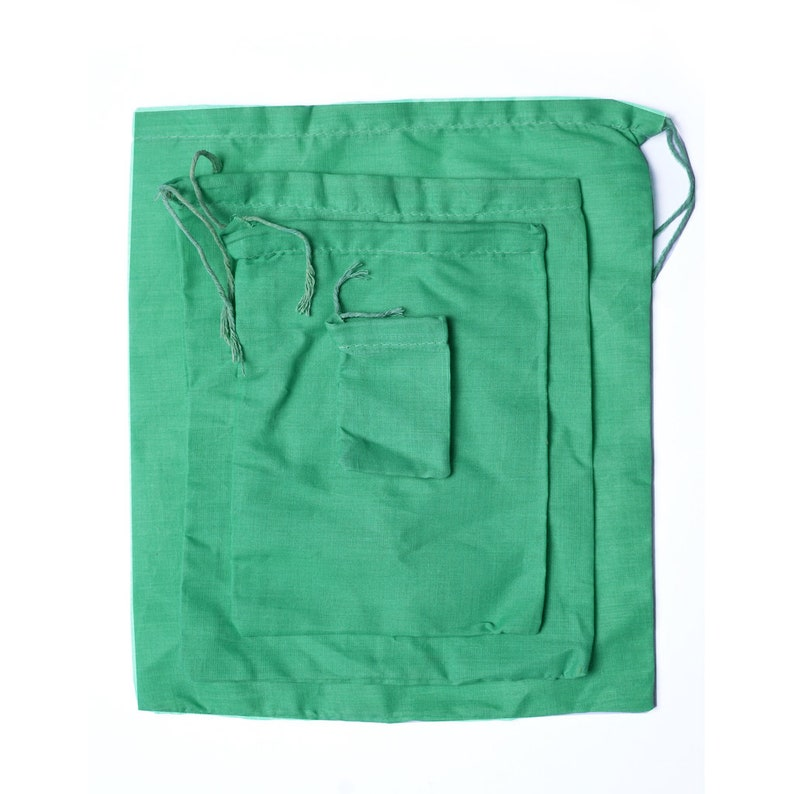 10 x 12 Inches Reusable Cotton Pouches Green Single Drawstring Premium Quality Gift Storage and Party Favor Cotton Bags