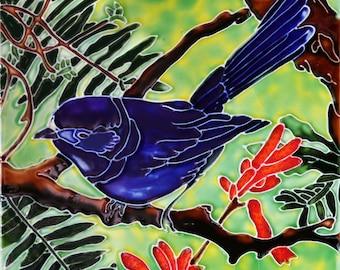 Handmade decorative ceramic tile blue bird