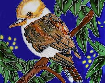 Handmade decorative ceramic tile bird