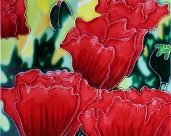 Handmade decorative ceramic tile red flower2