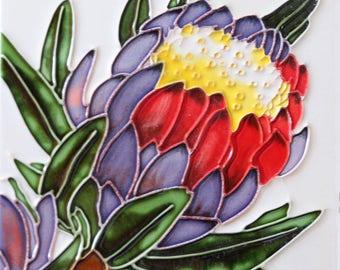 Handmade decorative ceramic tile flower