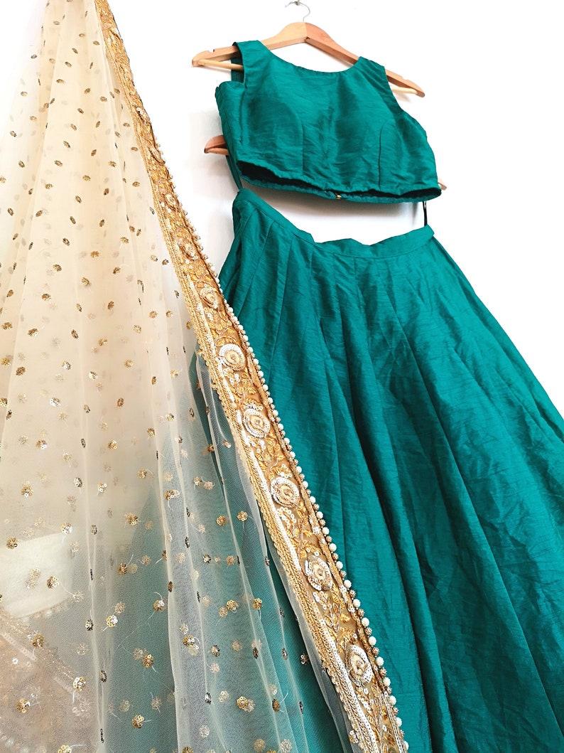 f252d010cb9c5 Emerald Green silk blouse skirt lehenga crop top prom