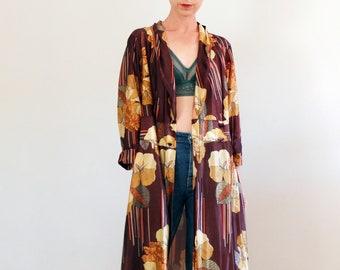 f65db0d02 Vintage 60s 70s kimono robe, Vintage tan floral long kimono jacket, Vintage  wrap dress, vintage 1970s retro robe