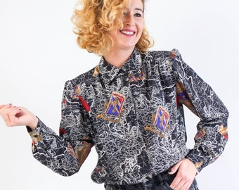 Vintage 80s blouse in printed houndstooth with black trim  80s office wear sexty seretary
