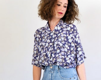 abc340c0 Vintage 1990s blue floral maxi blouse, vintage oversized button up shirt  for women, 80s 90s floral loose fit blouse