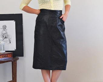f4a5b08378e 80s 90s vintage leather midi skirt