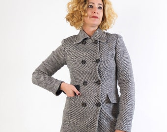 Vintage 90/'s Burgundy Minimalist Wool Coat  Jacket size S