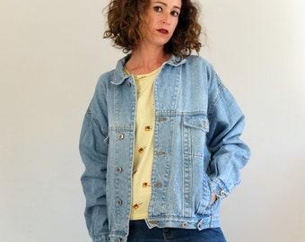 e79c8defb6ba4 Vintage 80s Oversized denim jacket in blue