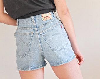74a523a9de Vintage 1990s denim short, Vintage high waist denim short, 90s blue mom jeans  short - Size S W25 W26