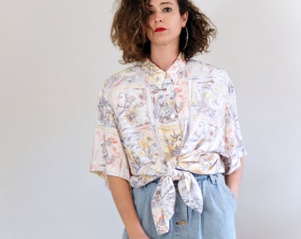 ff6195a0 Vintage 1990s floral maxi blouse, vintage oversized button up shirt for  women, 80s 90s floral loose fit blouse