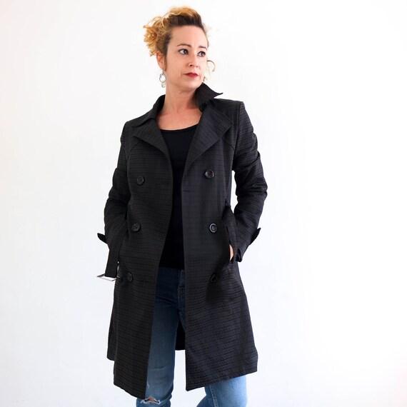 Vintage 90s black trench coat, Vintage black long
