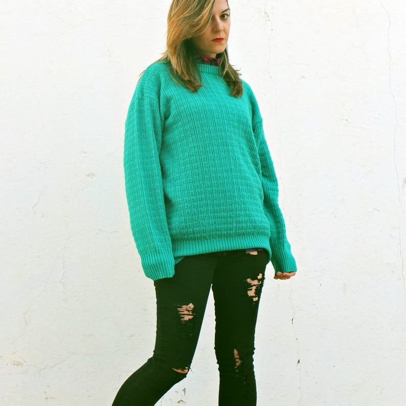 bc70e3172 Vintage 80s kelly green oversized sweater grunge knitted