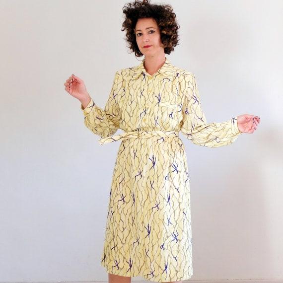 1980s Apple Print Dress 1980s Jersey Shirt Dress 1980s Teacher Dress Size L