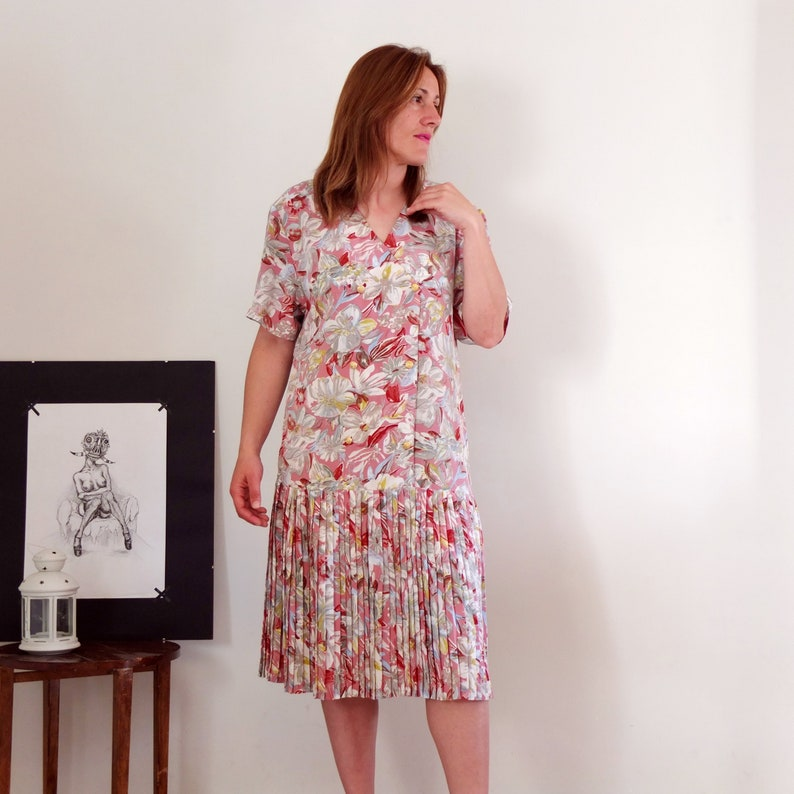 bc76e660f6b6 Vintage 80s low waist dress, pastel pink floral dress, double breasted dress,  dr... Vintage 80s low waist dress, pastel pink floral dress, double  breasted ...