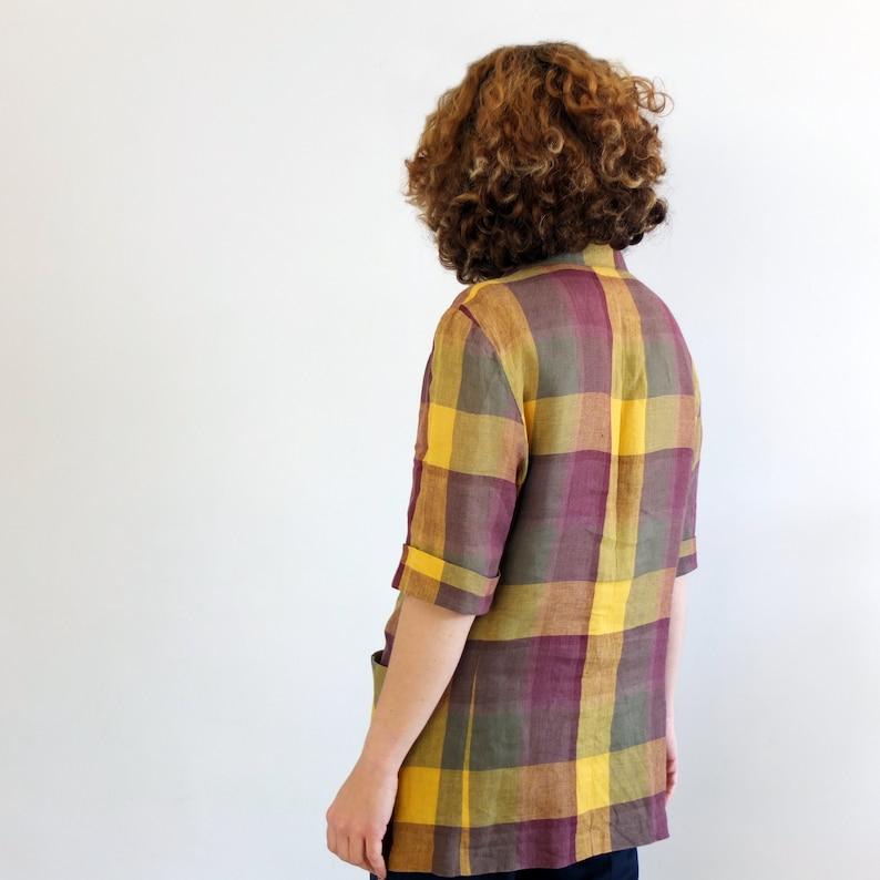 Burgundy mustard check tartan blazer Vintage plaid linen blazer jacket 1990s short sleeve light blazer Vintage 90s plaid oversized blazer