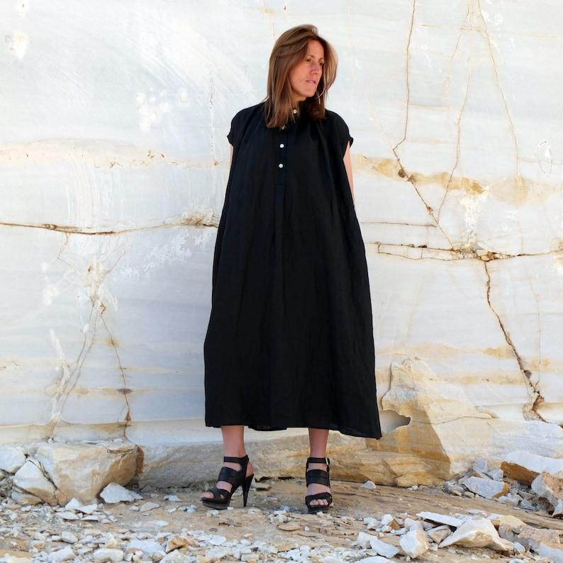 25f67d924 Vestido tunica lino negro vintage vestido largo boho negro