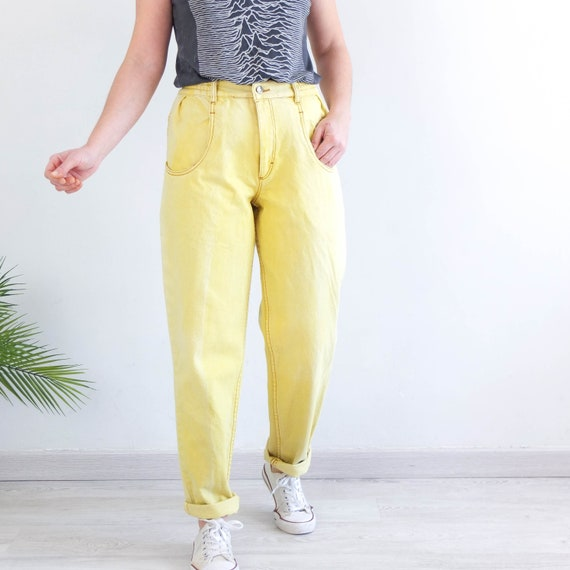 Vintage 80s yellow baggy jeans, 80s yellow high wa
