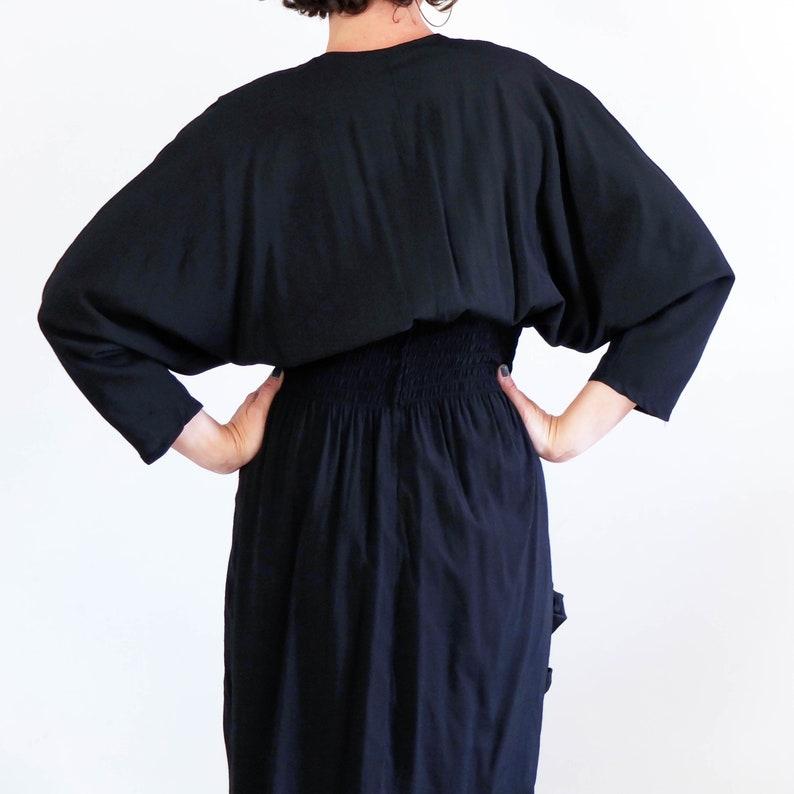 Vintage wrap double breasted dress Vintage 80s New wave black color block dress 80s bicolor bat sleeve draped dress 80s dress size large