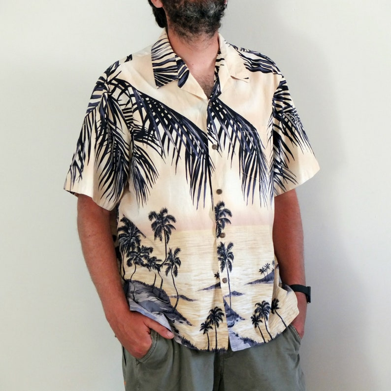 eab1217c 80s hawaiian shirt tropical palm shirt palms print shirt | Etsy