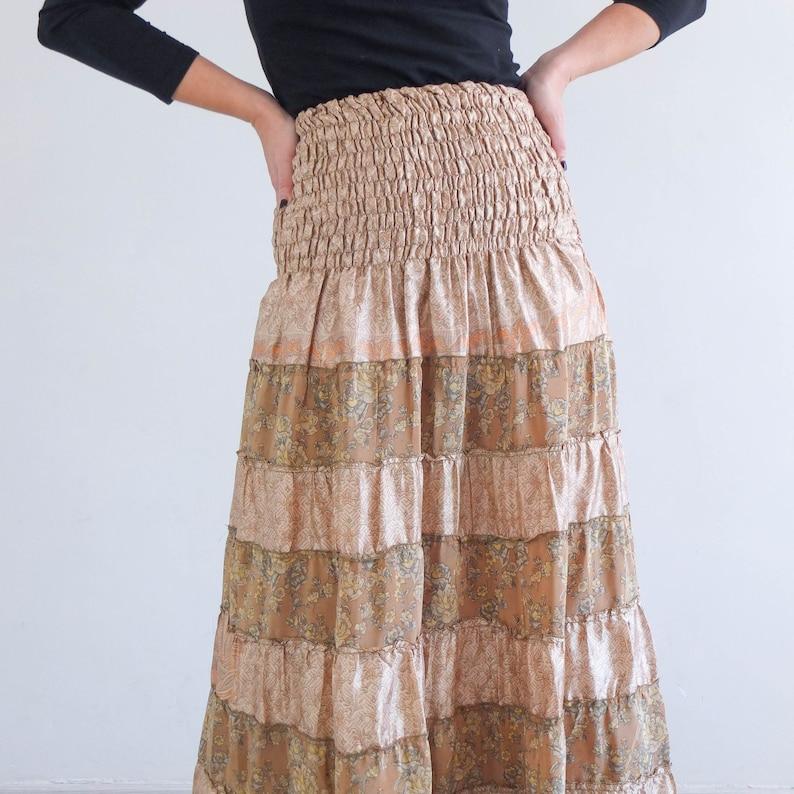 Vintage tiered long dress Vintage indian maxi skirt Broomstick Boho long skirt Vintage gypsy silk skirt Vintage boho hippie maxi skirt